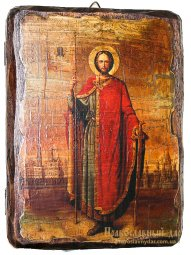 Icon Antique Holy Prince Alexander Nevsky 30x40 cm - фото