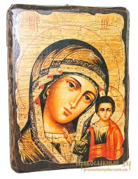 Icon of Kazan antique 21x29 cm Holy Mother of God - фото