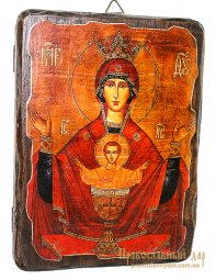 Icon antique Inexhaustible Chalice 21x29 cm Holy Mother of God - фото