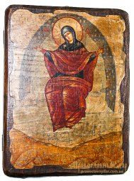 Icon of the Holy Theotokos antique bread 17h23 see Sporitelnitsa - фото