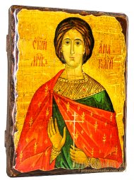 Icon Antique Holy Martyr Anatoly Nicene 17h23 cm - фото