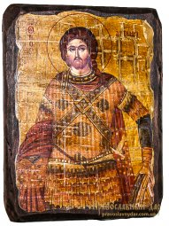 The icon of the Holy Great Martyr antique Artemius 30x40 cm - фото