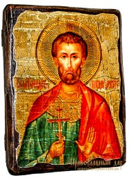 Icon of antique holy martyr Bogdan (Theodotus) Ancyra 17h23 cm - фото