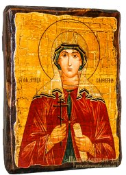 Icon Antique Holy Martyr Valentine Palestinian 17h23 cm - фото