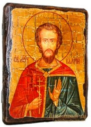 Icon Antique Holy Martyr Valery Melitinsky 21x29 cm - фото