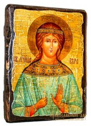 Icon Antique Holy Martyr Vera 17h23 cm - фото