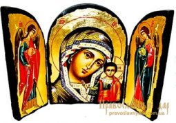 Icon of antique holy Mother of God of Kazan Skladen triple - фото
