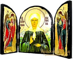 Icon Antique Holy Blessed Matrona of Moscow Triptych triple - фото