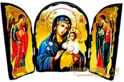Icon of the Holy Theotokos antique Fadeless Color Skladen triple - фото