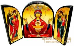 Icon of the Holy Theotokos antique Inexhaustible Cup Skladen triple - фото