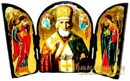 Icon antique Nicholas the Wonderworker Skladen triple - фото