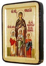 Icon of Saints Faith, Hope, Love and Mother of Sophia Greek style in gilding 13x17 cm - фото