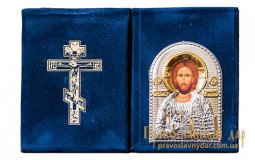 Icon of Christ Pantocrator 7x9 cm Velvet hinged Greece - фото