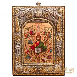 Icon of the Lord Jesus Christ and the 12 Apostles 15x20 cm Byzantine style - фото