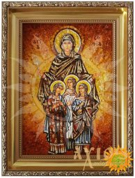 Amber icon of Holy Martyrs Faith, Hope, Love and their mother Sophia 20x30 cm - фото