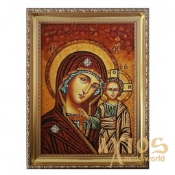 Amber icon of Virgin Mary of Kazan 20x30 cm - фото