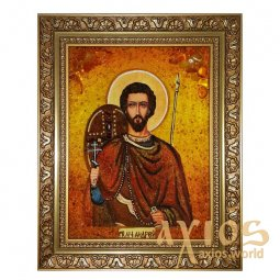 Amber icon of Holy Martyr Andrew Stratilat 20x30 cm - фото