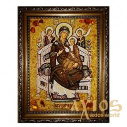 Amber icon of the Theotokos Vsetsaritsa 20x30 cm - фото