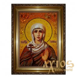 Amber icon of Holy Martyr Galina 20x30 cm - фото