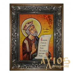 Amber icon of the Holy Prophet David 20x30 cm - фото