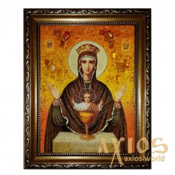Amber icon of Holy Mother of God  Inexhaustible Chalice 20x30 cm - фото