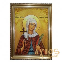 Amber icon of Holy Martyr Valentine 20x30 cm - фото