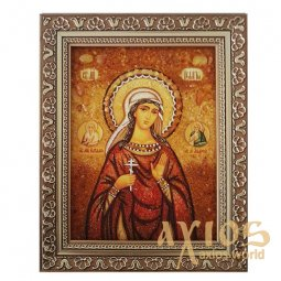Amber icon of Holy Martyr Pelagia 20x30 cm - фото