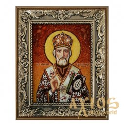 Amber icon of St. Nicholas the Wonderworker 20x30 cm - фото