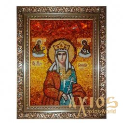 Amber icon of Holy Martyr Valery 20x30 cm - фото