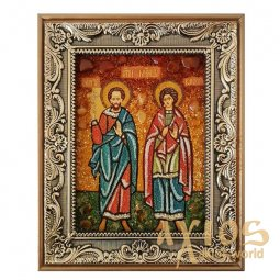 Amber icon of Holy Martyrs Sergius and Bacchus 20x30 cm - фото