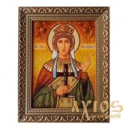 Amber icon of Holy Martyr Alexandra 20x30 cm - фото