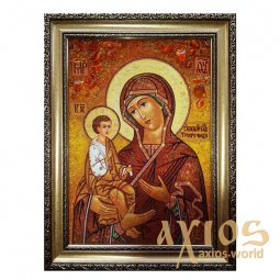 Amber icon of Virgin Mary Three Hands 20x30 cm - фото