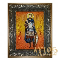 Amber icon of Holy Martyr Savel 20x30 cm - фото