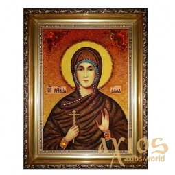 Amber icon of Holy Martyr Alla 20x30 cm - фото
