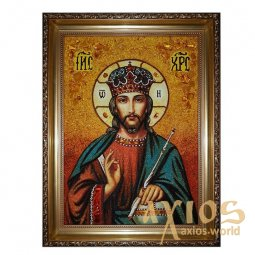 Amber icon of the Lord Iisus Hristos the Almighty 20x30 cm - фото