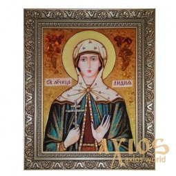 Amber icon of Holy Martyr Lydia 20x30 cm - фото