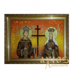 Amber icon of Saints Constantine and Helen 20x30 cm - фото