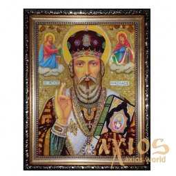 Amber icon of St. Nikolay the Miracleworker 20x30 cm - фото