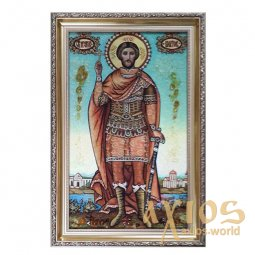 Amber icon of Holy Martyr Victor 20x30 cm - фото