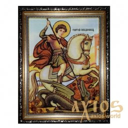 Amber icon of St. George the Victorious 20x30 cm - фото