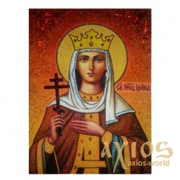 Amber icon of Holy Martyr Irina 20x30 cm - фото