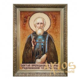 Amber icon of St. Sergiy Radonezhsky the Wonderworker 20x30 cm - фото