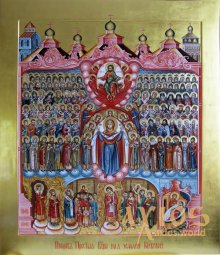 Icon of the Protection of the Holy Virgin and the Cathedral of the Kiev princes 30х37,5см - фото