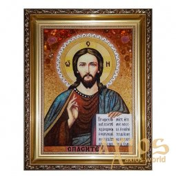 Amber Icon of the Savior Almighty 60x80 cm - фото