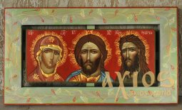 The written icon of the three faces Theotokos, Savior, John the Baptist 39х21 cm - фото