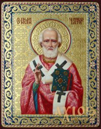 Writer's icon Saint Nicholas the Wonderworker 31x24 cm (linden, gold, oil painting) - фото