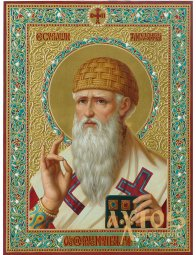 The written icon of Saint Spyridon Trimiphunt 31x24 (alder, carving, gold, oil) - фото