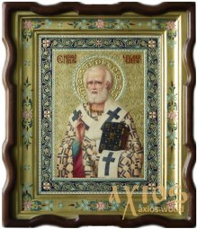 Hand-written Icon Saint Nicholas the Wonderworker 31x24 cm (alder, carving, gold, painting) - фото