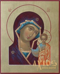 Hand-Written icon Kazan Mother of God 25х20 cm - фото