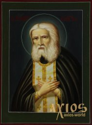 Hand - Written icon of Seraphim of Sarov 30х20 cm - фото